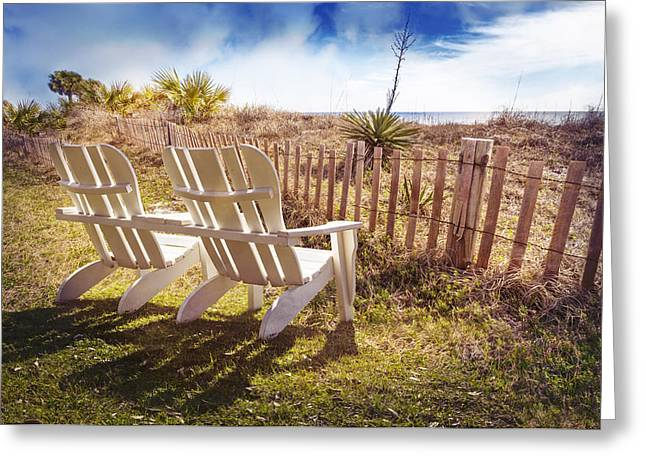 Sanddunes Greeting Cards - Relaxing on the Dunes Greeting Card by Debra and Dave Vanderlaan