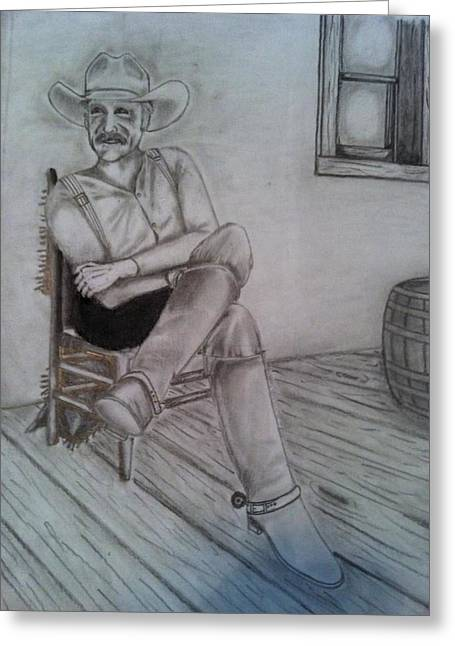 Lonesome Dove Greeting Cards - Relaxing on the front porch Greeting Card by Mark Ward