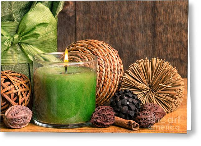 Relaxing Spa candle Greeting Card by Edward Fielding