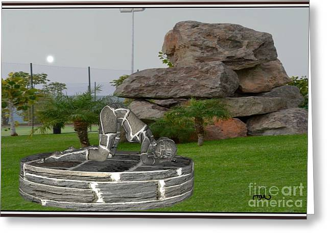 Statue Portrait Greeting Cards - relaxing statue 003RS1 Greeting Card by Pemaro