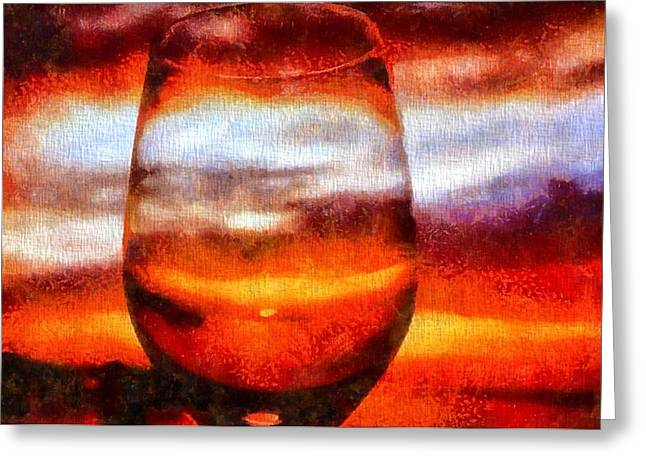Relaxing Mixed Media Greeting Cards - Relaxing Sunset Greeting Card by Dan Sproul