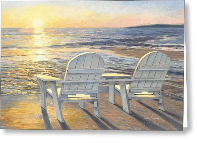Beach Scenery Greeting Cards - Relaxing Sunset Greeting Card by Lucie Bilodeau