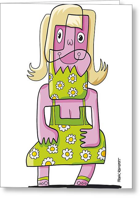 Relaxing Woman Doodle Character Greeting Card by Frank Ramspott