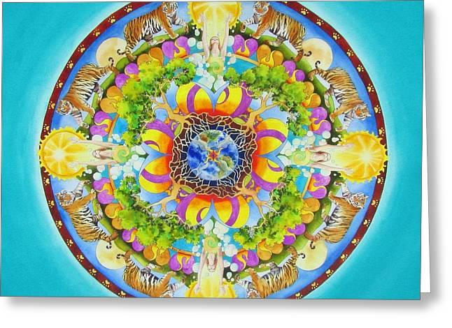 Grounding Greeting Cards - Release Mandala Greeting Card by Vikki Reed