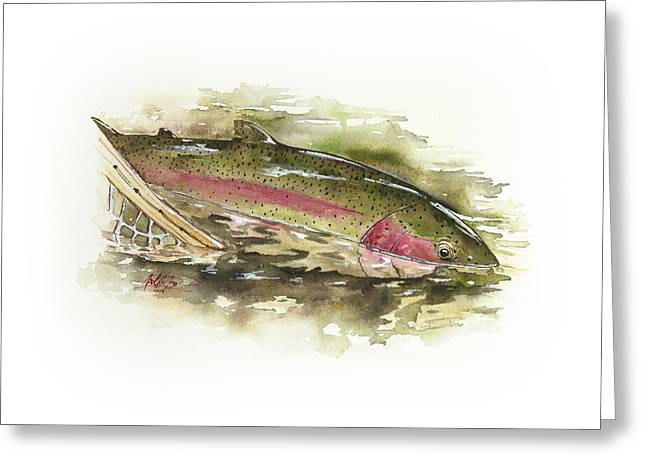 Rainbow Trout Greeting Cards - Release Of A Rainbow Greeting Card by Joel DeJong