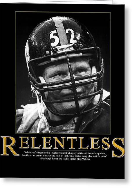 Fame Greeting Cards - Relentless Mike Webster Greeting Card by Retro Images Archive