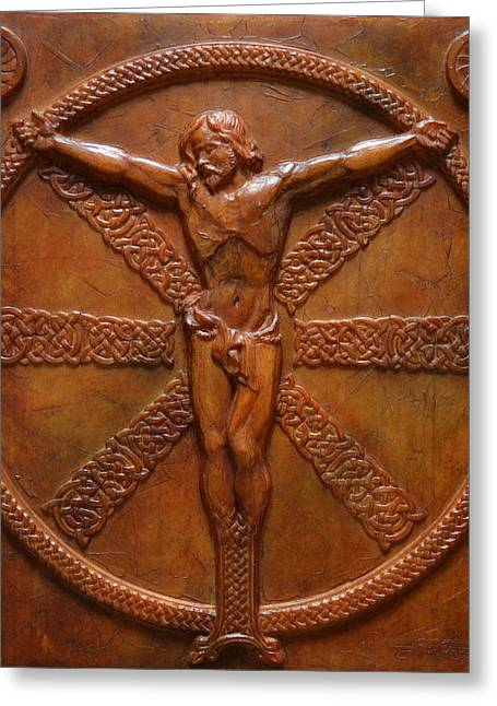 Sacred Art Reliefs Greeting Cards - Relic - A Celtic Crucifixion Greeting Card by Jeremiah Welsh