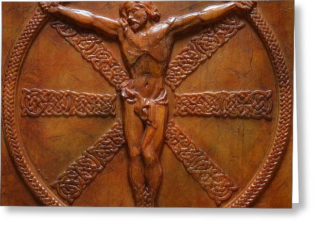 Sacred Reliefs Greeting Cards - Relic - A Celtic Crucifixion Greeting Card by Jeremiah Welsh