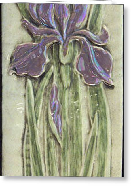 Ceramic Reliefs Greeting Cards - Relief carved ceramic Iris Greeting Card by Shannon Gresham