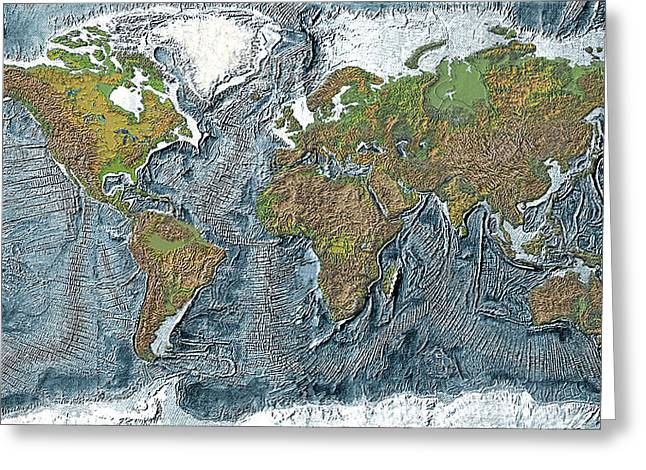 Relief Map Greeting Cards - Relief map of the Earth Greeting Card by Carol and Mike Werner