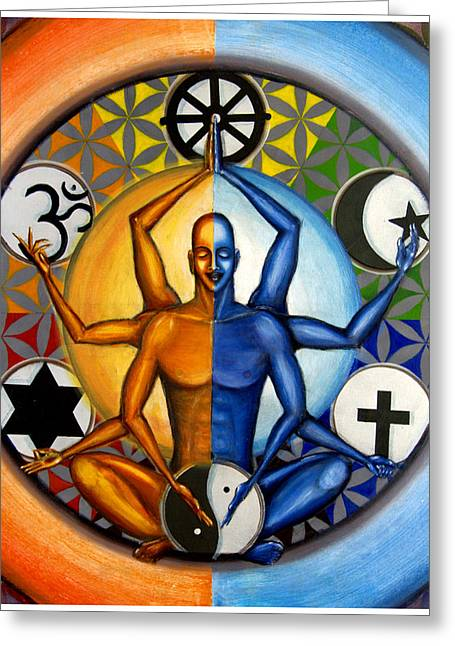 Conscious Paintings Greeting Cards - Religion and Unity Greeting Card by Sohel Mehboob