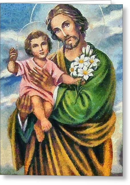 Sacred Paintings Greeting Cards - Religious Art 11 Greeting Card by Victor Gladkiy