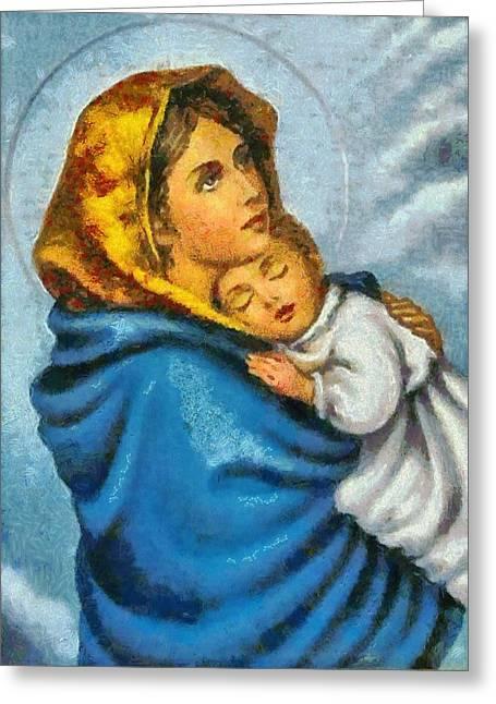 Sacred Paintings Greeting Cards - Religious Art 15 Greeting Card by Victor Gladkiy