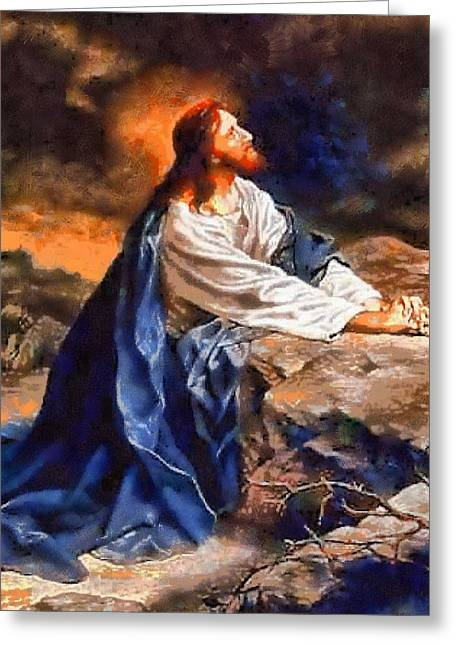 Religious Paintings Greeting Cards - Religious Art 44 Greeting Card by Victor Gladkiy