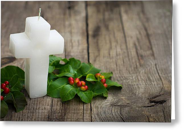 Rosary Greeting Cards - Religious Candle Greeting Card by Aged Pixel
