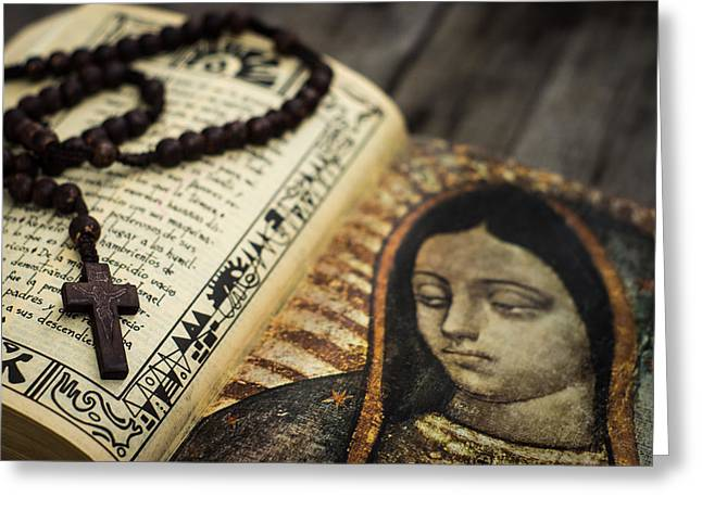 Rosary Greeting Cards - Religious Concept Greeting Card by Aged Pixel