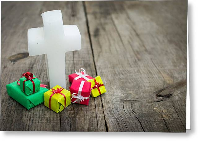 Crucifix Photographs Greeting Cards - Religious cross with presents Greeting Card by Aged Pixel