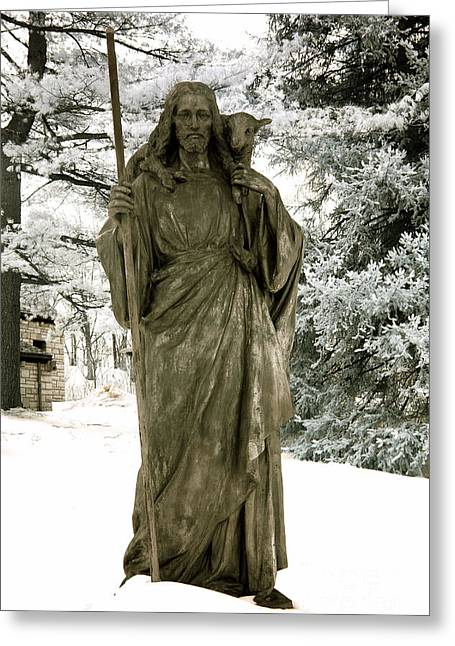 Jesus Greeting Cards - Religious Jesus Statue Holding Lamb Winter Scene Greeting Card by Kathy Fornal
