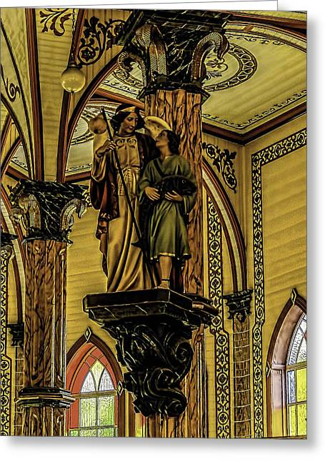 San Rafael Church Greeting Cards - Religious Statue Greeting Card by Myer Bornstein