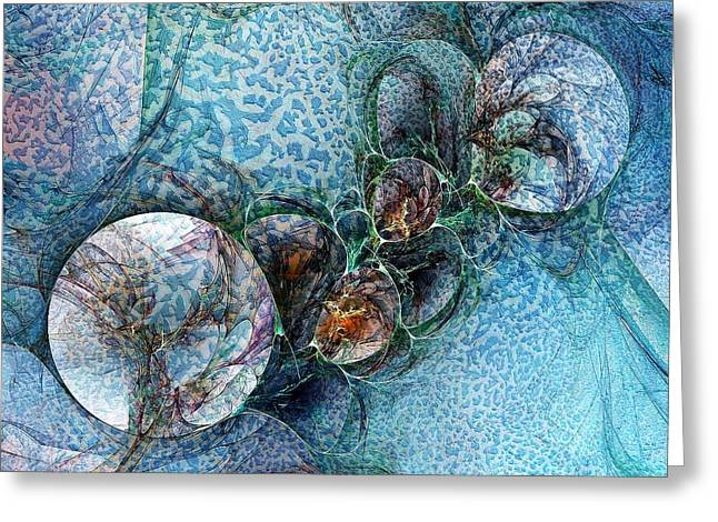 Fractal Orbs Greeting Cards - Remains of a Mosaic Greeting Card by Amanda Moore
