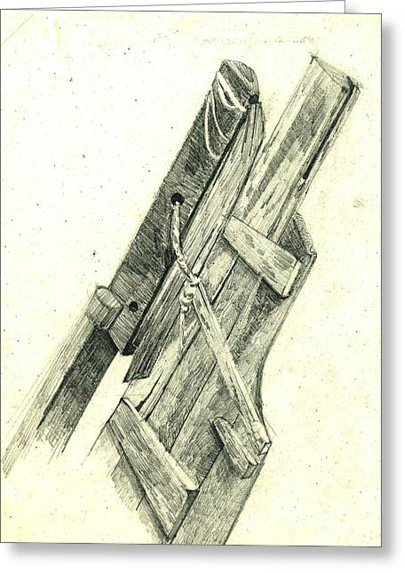 Work Place Drawings Greeting Cards - Remains Of A Wooden Boat Greeting Card by Makarand Joshi