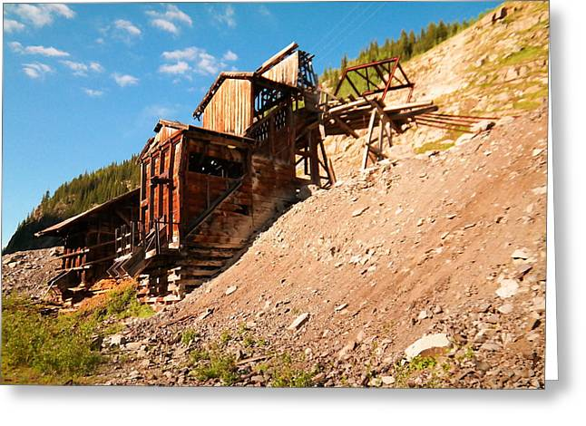 Old Relics Greeting Cards - Remains Of An Old Mine In Silverton  Greeting Card by Jeff  Swan