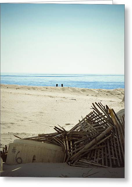Steel Pier Greeting Cards - Remains Of Hurricane Sandy Greeting Card by Trish Tritz