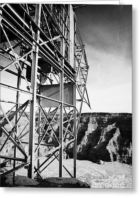 Guano Greeting Cards - remains of old tramway headhouse for the mine at guano point Grand Canyon west arizona usa Greeting Card by Joe Fox