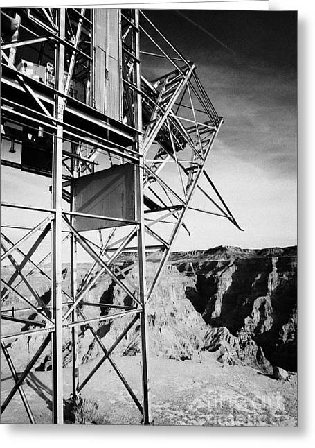 Guano Greeting Cards - remains of old tramway headhouse including yellow cab for the mine at guano point Grand Canyon west  Greeting Card by Joe Fox