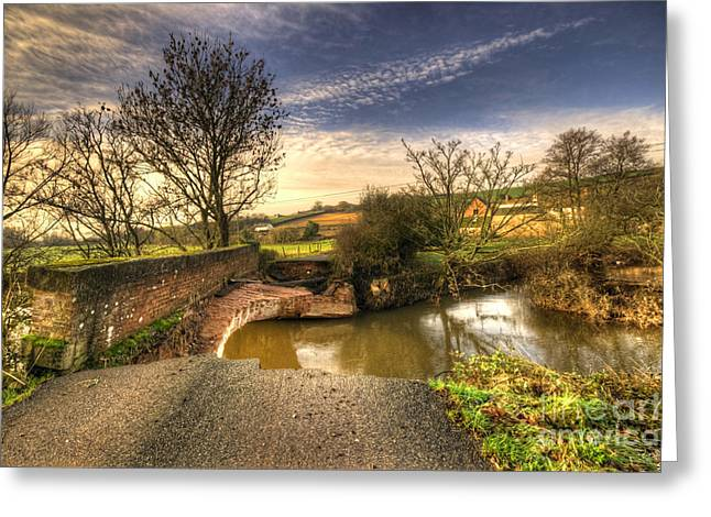 River Flooding Greeting Cards - Remains of the bridge  Greeting Card by Rob Hawkins
