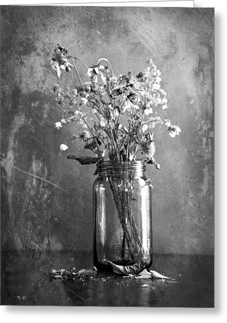 Flower Still Life Prints Greeting Cards - Remains Of The Season Greeting Card by Theresa Tahara