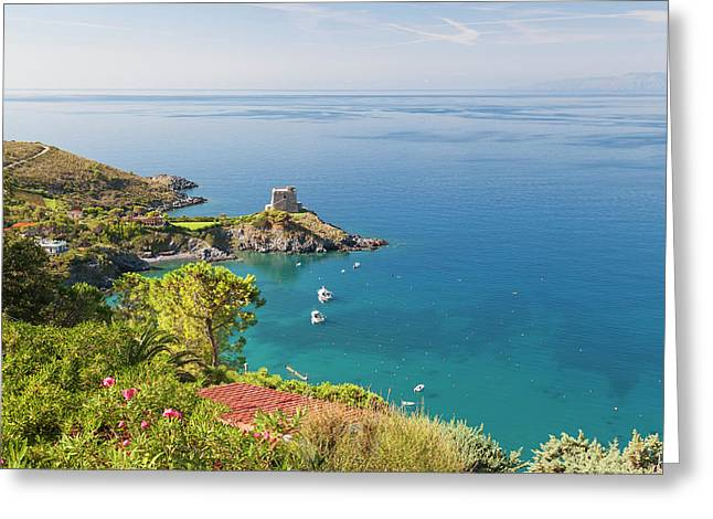 Remains Of The Watchtower, Carpino Bay Greeting Card by Peter Adams