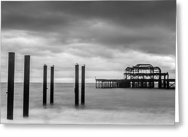 Eery Greeting Cards - Remains of the West Pier in Brighton Greeting Card by Semmick Photo