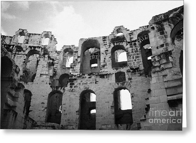 African Heritage Greeting Cards - Remains Of Tiered Arches Of The Old Roman Colloseum At El Jem Tunisia Greeting Card by Joe Fox