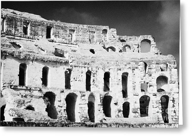 African Heritage Greeting Cards - Remains Of Upper Tiers Looking Up From The Arena Floor Of The Old Roman Colloseum At El Jem Tunisia Greeting Card by Joe Fox