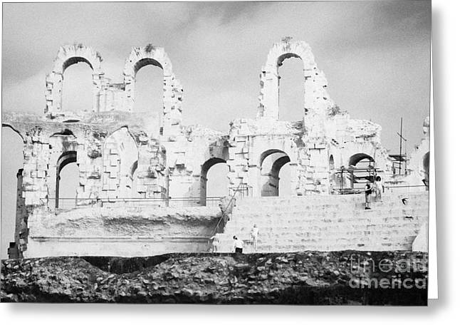 African Heritage Greeting Cards - Remains Of Upper Tiers Of The Old Roman Colloseum At El Jem Tunisia Greeting Card by Joe Fox