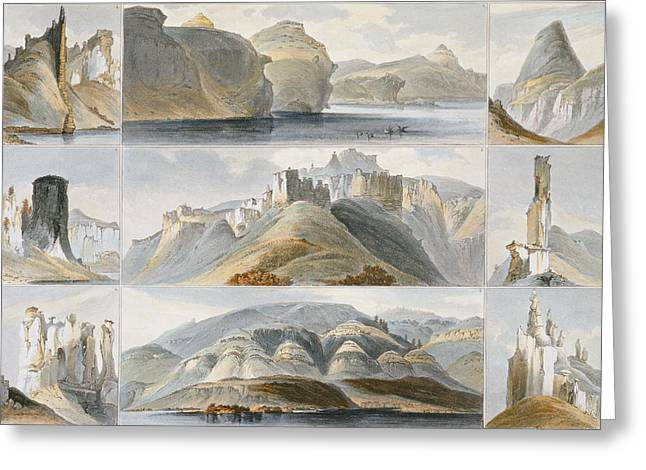 Rocks Drawings Greeting Cards - Remarkable Hills On The Upper Missouri Greeting Card by Karl Bodmer
