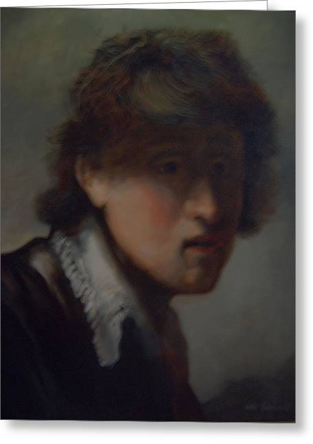 Rembrandt Lighting Greeting Cards - Young Rembrandt Greeting Card by John Genuard