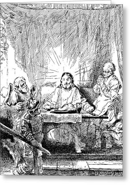 Emmaus Greeting Cards - Rembrandt Etching Supper at Emmaus Greeting Card by