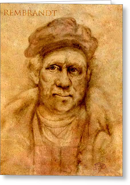D.w. Drawings Greeting Cards - Rembrandt from his self portrait Greeting Card by Troy Brown