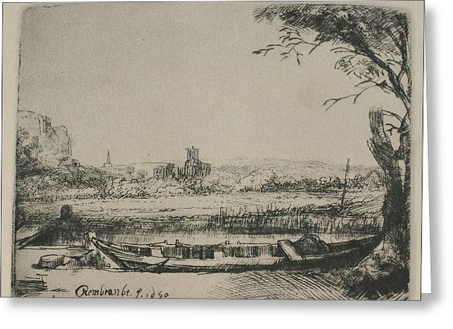 Christ In The Storm Greeting Cards - Rembrandt sketch of cottage landscape Greeting Card by Rembrandt