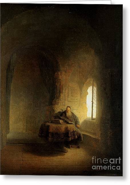 Storm Prints Paintings Greeting Cards -  Rembrandt man at window Greeting Card by Rembrandt