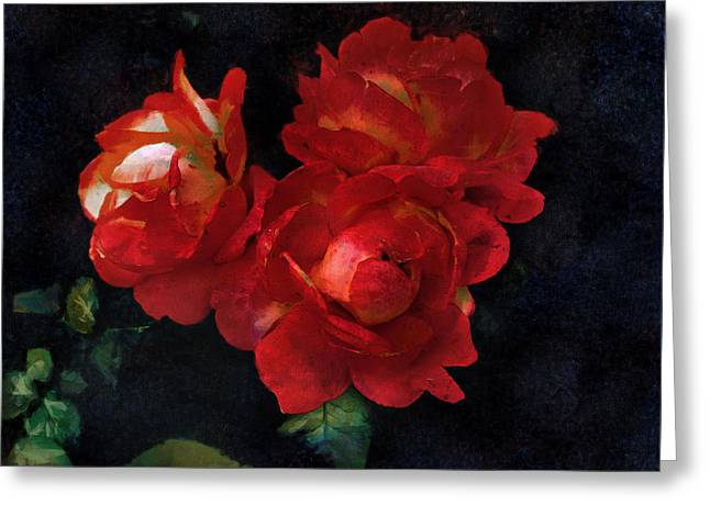 Old Masters Greeting Cards - Rembrandt Roses Greeting Card by Bernie  Lee