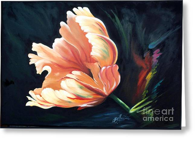 Shower Curtain Greeting Cards - Rembrandt- Tulip Greeting Card by  ILONA ANITA TIGGES - GOETZE  ART and Photography