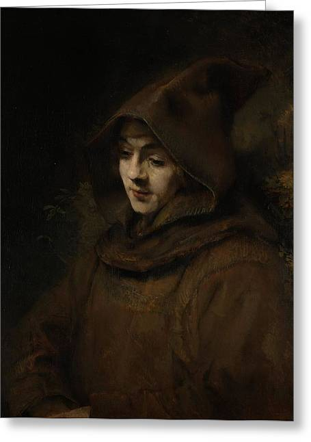 Franciscans Greeting Cards - Rembrandts Son Titus In A Monks Habit, 1660 Oil On Canvas Greeting Card by Rembrandt Harmensz. van Rijn