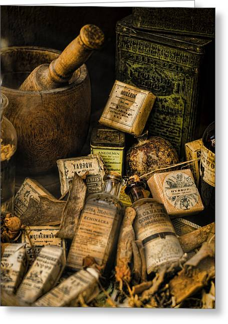 History Of Medicine Greeting Cards - Remedies Greeting Card by Heather Applegate