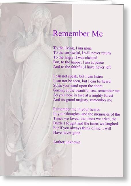 Remembering Greeting Cards - Remember Me Greeting Card by Philip Ralley