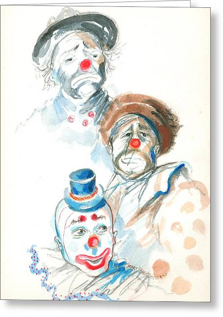 Remember The Clowns Greeting Card by Mary Armstrong