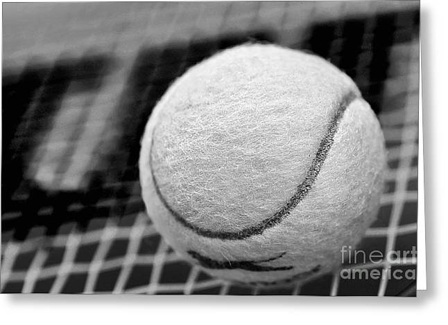 Recently Sold -  - Racquet Greeting Cards - Remember the White Tennis Ball Greeting Card by Kaye Menner
