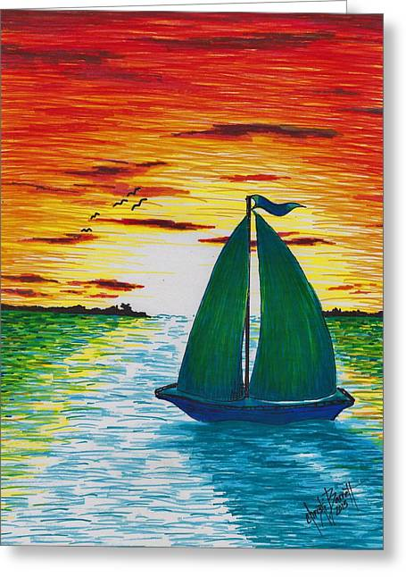 Sunset Seascape Drawings Greeting Cards - Remember When Greeting Card by Christi Barrett